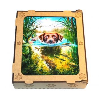 Пазлы деревянные фигурные Охотничий пес (2 шт.) формат А4 (30 х 21 см)