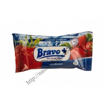 Салфетки влажные BRAVO+ клубника