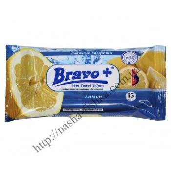 Салфетки влажные BRAVO+ лимон