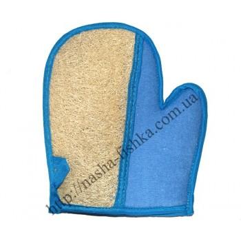 Мочалка комбинированная Люфа рукавица с пальцем