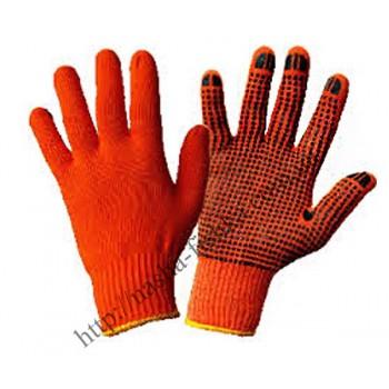 Перчатки х/б трикотажные Оранжевые с ПВХ точкой