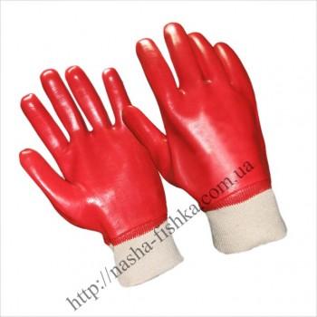 Перчатки маслобензостойкие красные с мягким манжетом