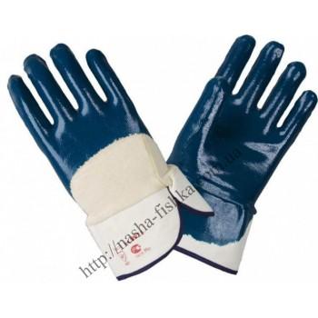 Перчатки маслобензостойкие синие с жестким манжетом