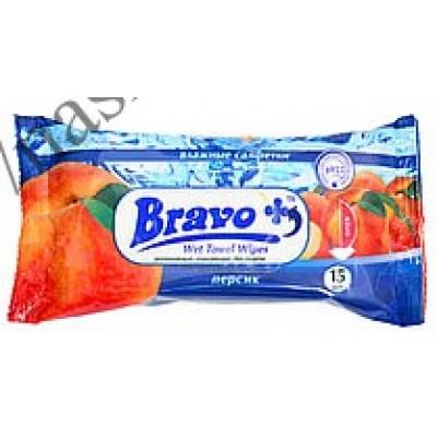 Салфетки влажные BRAVO+ персик