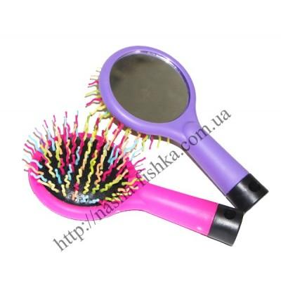 Расчески-щетки для волос радуга круглые с зеркалом (А-107)