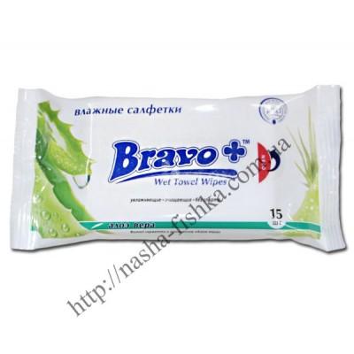 Салфетки влажные BRAVO+алоэ