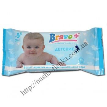 Салфетки влажные BRAVO+ детская