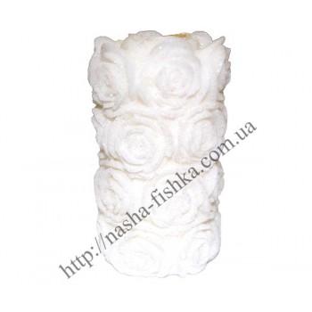 Свеча декоративная Роза белая 10 см