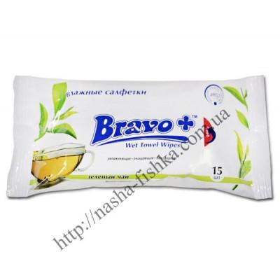 Салфетки влажные BRAVO+ зеленый чай