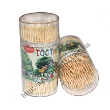 Зубочистки бамбуковые в круглой банке Фрукты