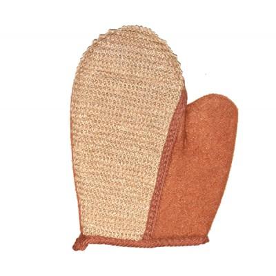 Мочалка рукавица с пальцем ( лен)